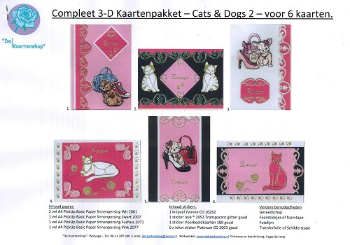3-D Kaartenpakket Cats & Dogs 2