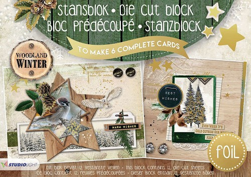 A5 Stansblok met folie - Woodland Winter