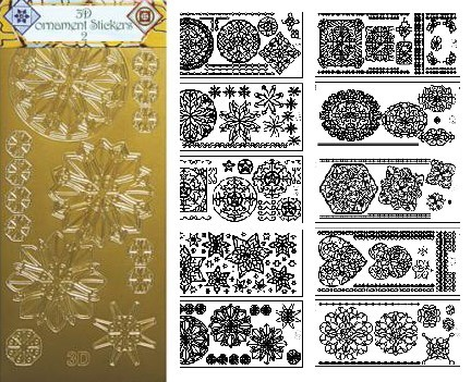 JeJe 3-D Ornament stickers 2 - Set van 10 stuks in Goud