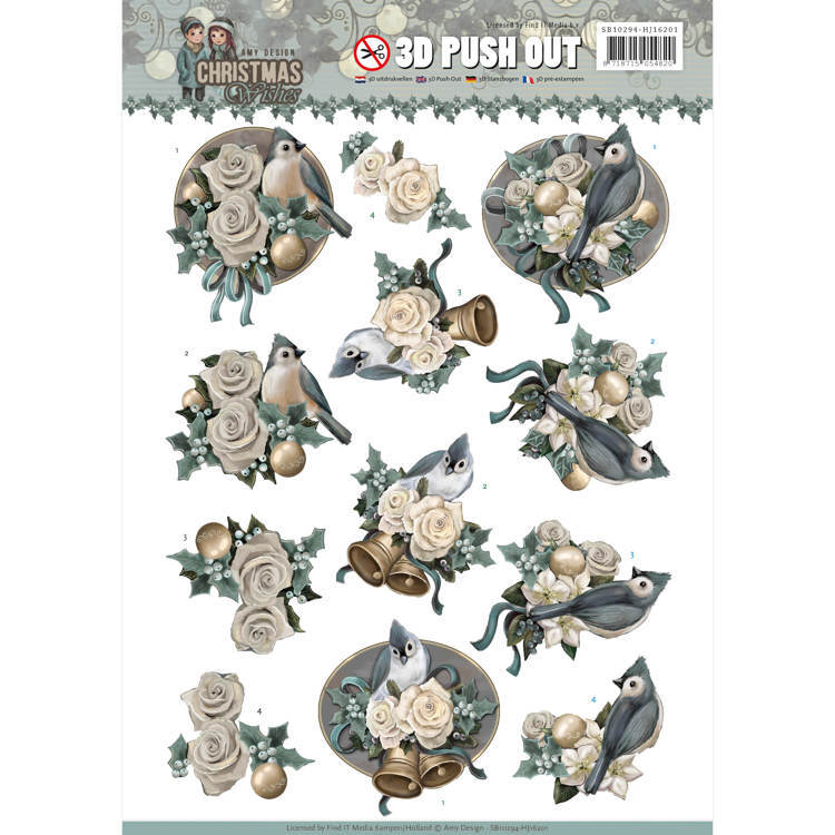 SB 10294/HJ 16201 - Push Out - Amy Design - Christmas wishes - Birds and Bells