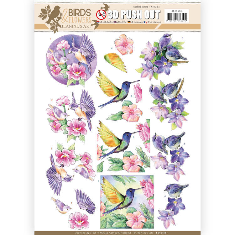 3D Pushout SB 10318 - Jeanine's Art - Birds and Flowers - Tropical birds