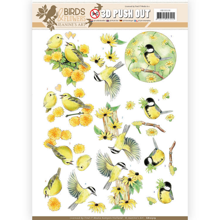 3D Pushout SB 10319 - Jeanine's Art - Birds and Flowers - Yellow birds
