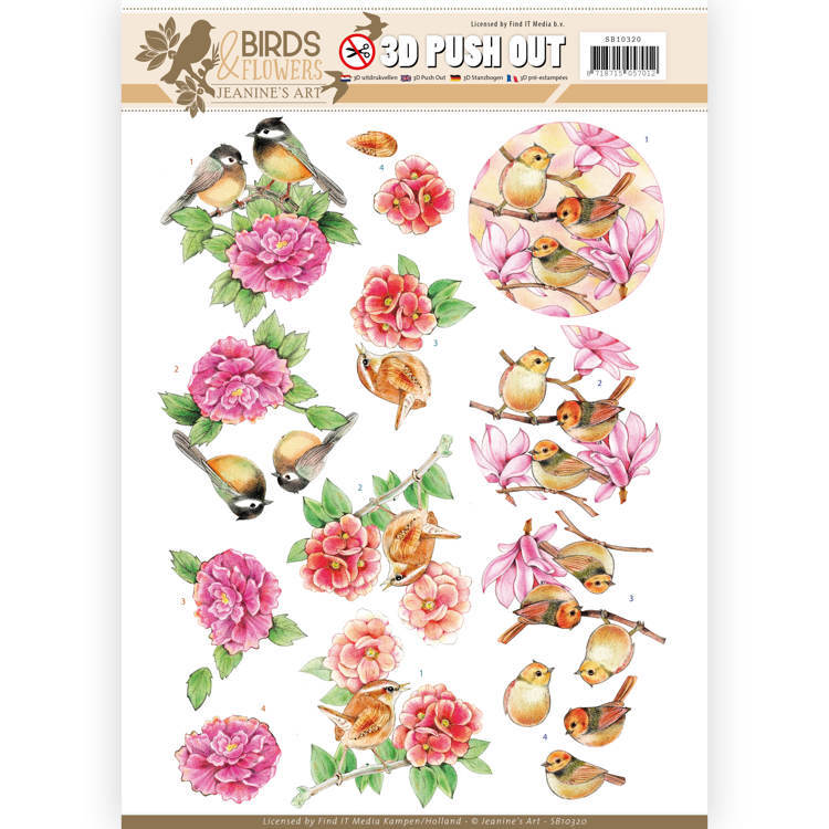 3D Pushout SB 10320 - Jeanine's Art - Birds and Flowers - Pink birds