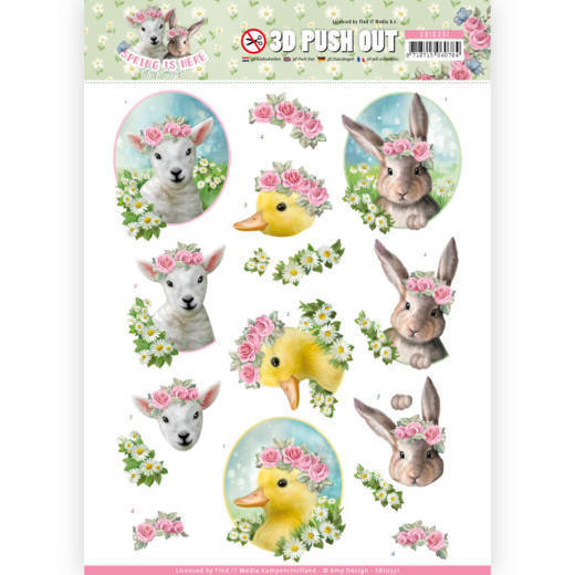 3D Pushout - SB 10331 - Amy Design - Spring is Here - Baby Animals