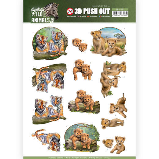 3D Pushout SB 10352 - Amy Design - Wild Animals 4 - twins