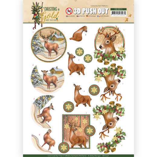 3D Pushout SB 10371 - Amy Design - Christmas in Gold - Deers in Gold