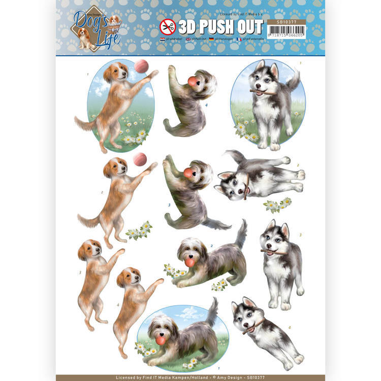 3D Pushout SB 10377 - Amy Design - Dog's Life - Playing Dogs