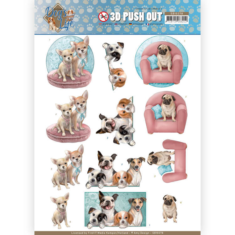 3D Pushout SB 10378 - Amy Design - Dog's Life - All kind of dogs