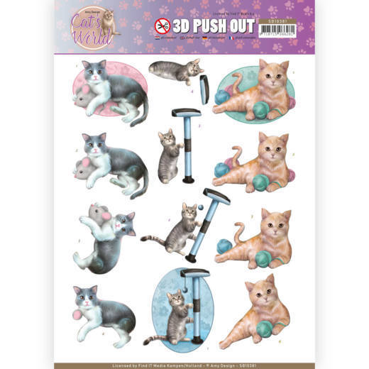 3D Pushout SB 10381 - Amy Design - Cat's World - Playing Cats