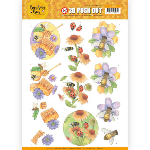 3D Pushout SB 10368 - Jeanine's Art - Buzzing Bees - Sweet Bees