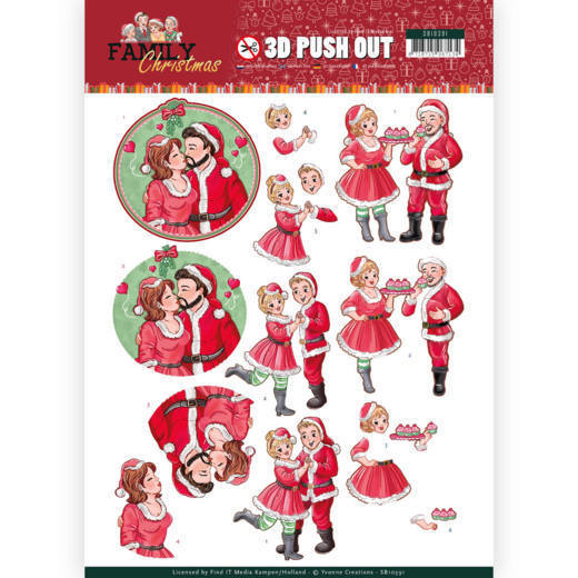 3-D Push Out - SB 10391 - Yvonne Creations - Family Christmas - Loving Christmas