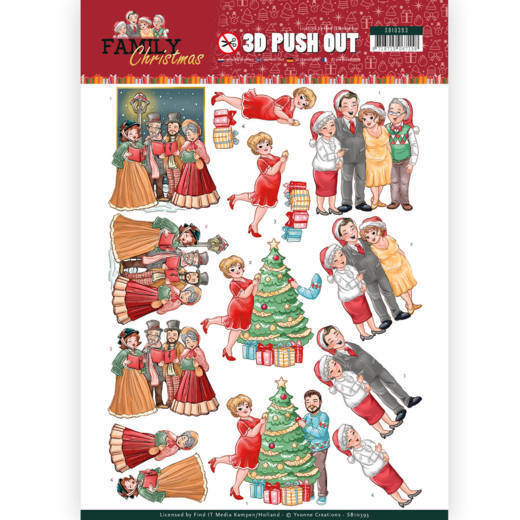 3-D Push Out - SB 10393 - Yvonne Creations - Family Christmas - Celebrate Christmas
