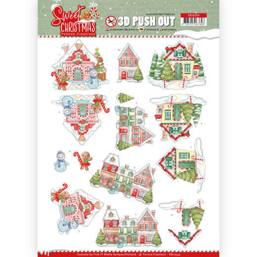 3-D Push Out - SB 10394 - Yvonne Creations - Sweet Christmas - Sweet Houses