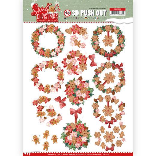 3-D Push Out - SB 10395 - Yvonne Creations - Sweet Christmas - Sweet Wreaths