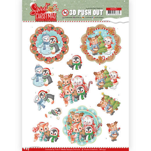 3-D Push Out - SB 10397 - Yvonne Creations - Sweet Christmas - Sweet Winter Animals