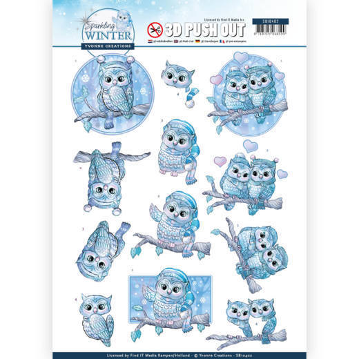 3-D Push Out - SB 10402 - Yvonne Creations - Sparkling Winter - Winter Owls