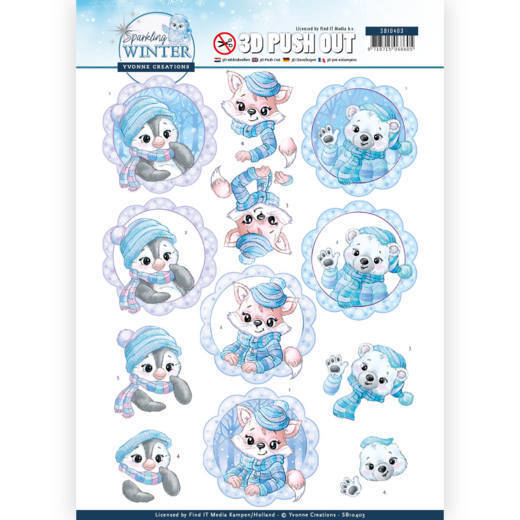 3-D Push Out - SB 10403 - Yvonne Creations - Sparkling Winter - Winter Friends