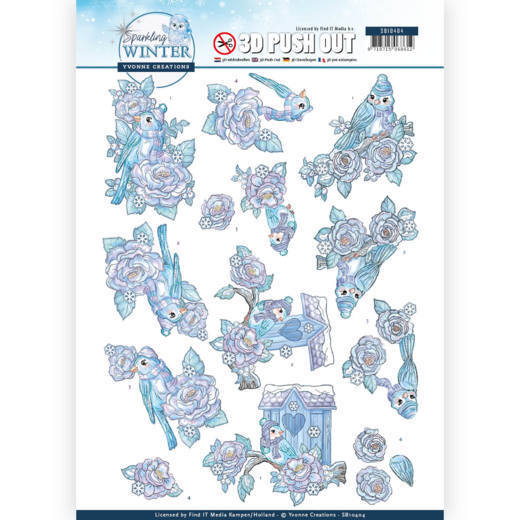 3-D Push Out - SB 10404 - Yvonne Creations - Sparkling Winter - Winter Birds