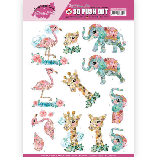 SB 10410 - 3D Pushout - Yvonne Creations - Floral Pink (Kitschy Lala) - Kitschy Animals