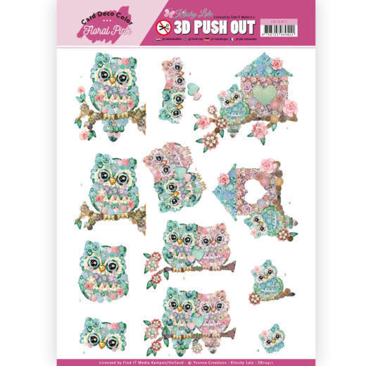 SB 10411 - 3D Pushout - Yvonne Creations - Floral Pink (Kitschy Lala) - Kitschy Owls