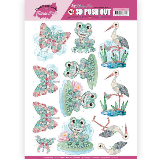 SB 10412 - 3D Pushout - Yvonne Creations - Floral Pink (Kitschy Lala) - Kitschy Animals