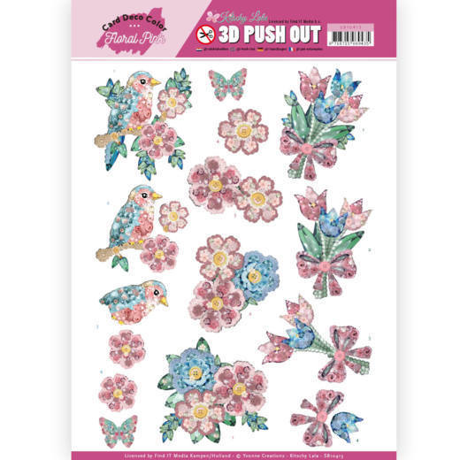 SB 10413 - 3D Pushout - Yvonne Creations - Floral Pink (Kitschy Lala) - Kitschy Flowers
