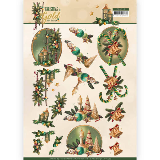 CD 11357 - 3D Knipvel - Amy Design - Christmas in Gold - Lanterns in Gold