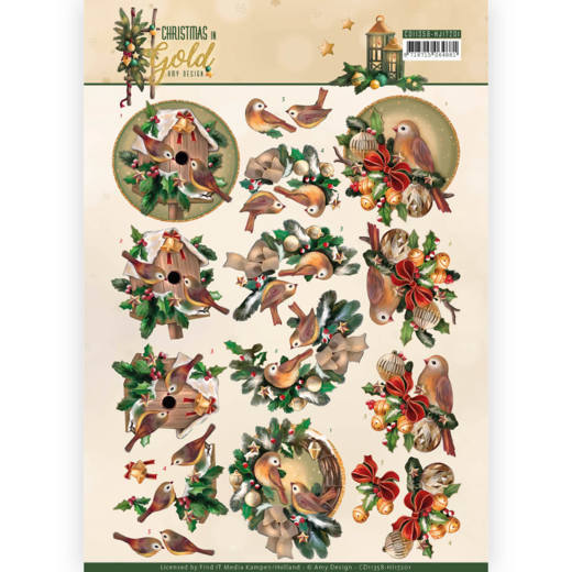 CD 11358 - HJ 17201 - 3D Knipvel - Amy Design - Christmas in Gold - Birds in Gold