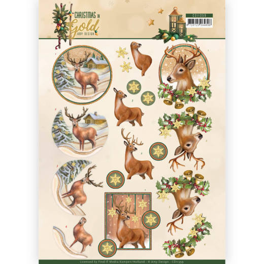 CD 11359 - 3D Knipvel - Amy Design - Christmas in Gold - Deers in Gold