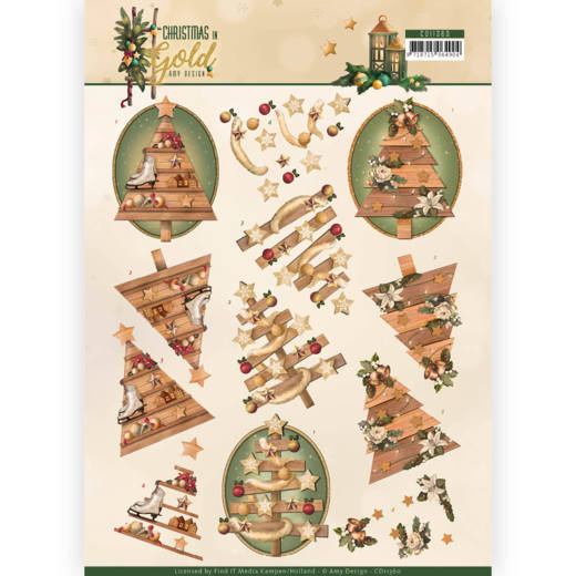 CD 11360 - 3D Knipvel - Amy Design - Christmas in Gold - Trees in Gold