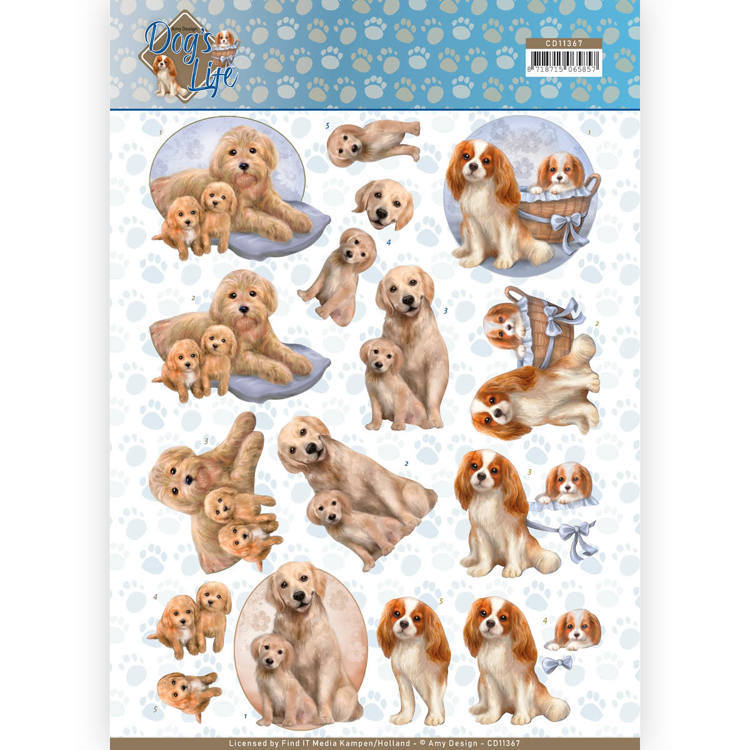 CD 11367 - 3D Knipvel - Amy Design - Dogs life - Dog mommy