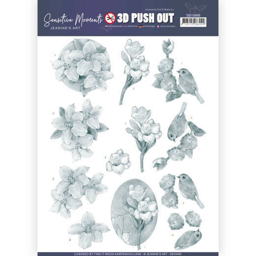 SB 10469 - 3D Push Out - Jeanine's Art - Sensitive Moments - Grey Freesias