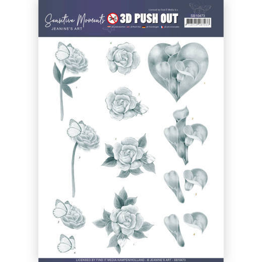 SB 10473 - 3D Push Out - Jeanine's Art - Sensitive Moments - Grey Calla Lily