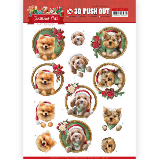 3D Push Out - SB 10465 - Amy Design - Christmas Pets - Christmas dogs