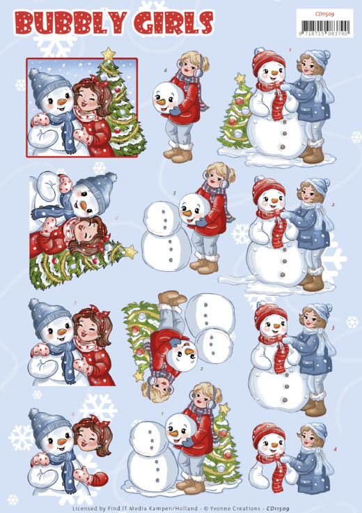 CD 11509 - 3D Cutting Sheet - Yvonne Creations - Bubbly Girls - Christmas