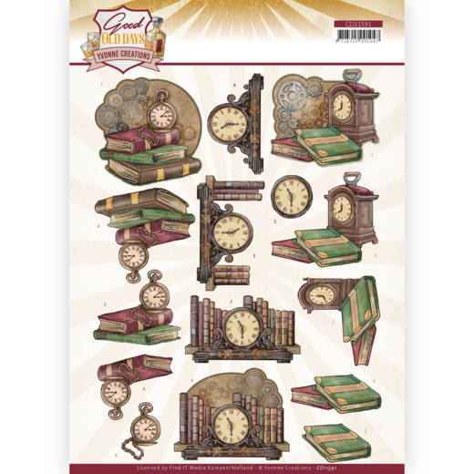 CD 11591 - 3D cutting sheet - Yvonne Creations - Good Old Days - Clock