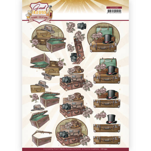 CD 11592 - 3D cutting sheet - Yvonne Creations - Good Old Days - Suitcase